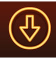 Glowing golden icon Down arrow vector image