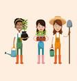 group women farmer equipment work vector image