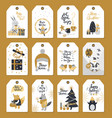 merry christmas colourful label badges with wishes vector image