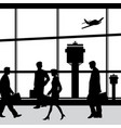 people in airport lounge silhouettes vector image