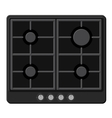Surface of Black Gas Hob Stove vector image