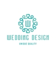 Wedding logo design turquoise with hearts and the vector image