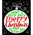 Merry Christmas lettering in decoration ball vector image
