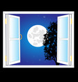 open window and moon night vector image