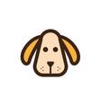 flat color dog head icon vector image vector image
