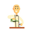 elegant bartender man character standing at the vector image