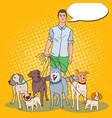 pop art man dog walker vector image