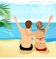 Young couple at tropical beach with arms up vector image