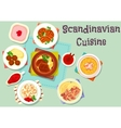 Scandinavian cuisine dish with berry dessert icon vector image