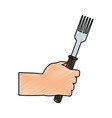 color pencil cartoon hand holding a fork ready to vector image