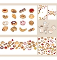 Set with different pastry vector image