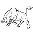 Cartoon of angry bull with attacking pose vector image