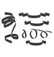 black curled ribbons flat drawing vector image