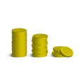 coins stack with shadows isolated on white vector image