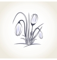 Easter beautiful crocus in snow and ice closeup vector image