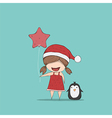 Girls and Penguin cute Christmas vector image