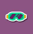 paper sticker on stylish background ski goggles vector image