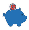 piggy bank with coin saving or accumulation of vector image