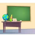 Classroom with green chalkboard vector image