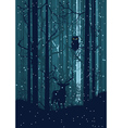 Snowy Winter Forest with Deer2 vector image