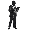 businessman holding a folder vector image