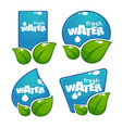 glossy and shine water labels and banners with vector image vector image