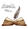 old notepad book and ink feather quill pen vector image vector image