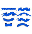 collection of blue ribbon banners and scrolls vector image vector image