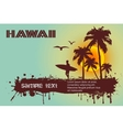 Silhouette of the surfer tropical beach vector image