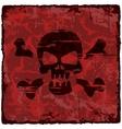 Grunge vintage background with skull vector image