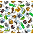 Funny cartoon insects seamless pattern vector image vector image