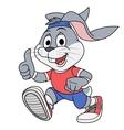 Smiling rabbit jogging vector image