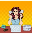 Pop Art Screaming Angry Business Woman vector image