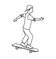 young guy riding a skateboard with cap gloves vector image