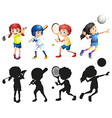 Boys and girls doing sports vector image vector image