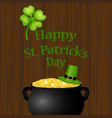 poster st patrick hat with clover and cylinder vector image