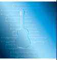 blue gradient background with guitar and music vector image