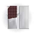 chocolate bar with foil wrap vector image