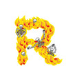 letter r hellish flames and sinners font fiery vector image