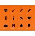 Medical icons on orange background vector image