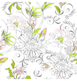 seamless wallpaper with romantic flowers vector image