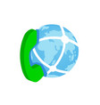 Phone and globe icon isometric 3d style vector image