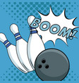 bowling pop art cartoon vector image