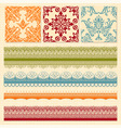 Bright seamless paterns and seamless lacy ribbons vector image