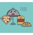 cartoon catering fast food with facial expression vector image