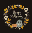 hand drawn vintage halloween party greeting card vector image