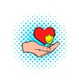 Hand holding red heart icon comics style vector image