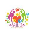 original logo design with happy family and big vector image