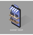 Isometric concept store online shopping of gadgets vector image