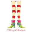 christmas card with with elf girls legs vector image